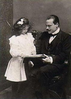 Grand Duke Ernst Ludwig of Hesse with his daughter Princess Elisabeth of Hesse.  Princess Elisabeth died of typhoid in November of 1903, at the age of eight.