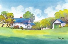 Watercolour Print :: Hillside Cottage Wales ...Framed