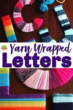 Yarn-Wrapped Letter Craft for Kids - Kids can personalize their space with this fun and easy yarn letter craft. Make your initials, your name or an inspiring word to display on a wall or . Yarn Crafts For Kids, Fun Craft, Crafts For Teens To Make, Crafts To Do, Projects For Kids, Art For Kids, Craft Kids, Kids Diy, Recycling Projects