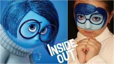 """Inside Out"" Sadness — Face Painting & Makeup Tutorial — Аквагрим ""Голов..."