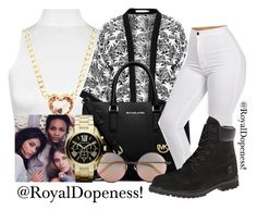 """""""Loving A Goddess!"""" by royaldopeness ❤ liked on Polyvore featuring WearAll, Studio, MICHAEL Michael Kors, Linda Farrow, Timberland, Charlotte Russe, Becca and Michael Kors"""