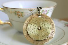 Fortune Teller Necklace - Large Vintage 1950s Retro Spinning Charm by sirenssoul