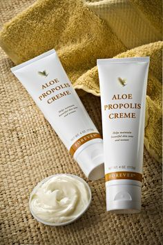 Who but Forever Living Products could produce a moisturizer as unique as Aloe Propolis Creme? Combining our world leadership in Aloe Vera and beehive products, Aloe Propolis Creme is one of our most popular skin care products.  Excellent as a skin moisturizer and conditioner, Aloe Propolis Creme is a rich blend of stabilized Aloe Vera Gel and Bee Propolis, with other ingredients recognized for their contribution to healthy skin. Chamomile, one of nature's best-known skin care herbs, is also…