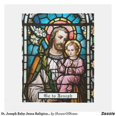 St. Joseph Baby Jesus Religious Catholic Prayer Fleece Blanket - #stjoseph #gotojoseph #yearofstjoseph Catholic Prayers, Catholic Saints, Baby Jesus, St Joseph, Pope Pius Ix, Religious Images, Edge Stitch, Love Messages, Blankets