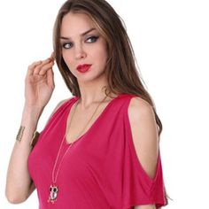 STYLISH DEEP V NECK TEE WITH CUT OUT SHOULDER BEAUTIFUL HUE OF FUSHIATHIS KNIT TOP BOASTS A DEEP V NECK WITH DARLING CUT OUT SHOULDERS SHORT SLEEVES &GATHERING ON EACH SIDE TO ENHANCE YOUR WAISTLINE  MODAL COTTON Tops Tees - Short Sleeve