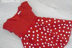 Červené puntíkované šaty, velikost 98/104 - obrázek číslo 1