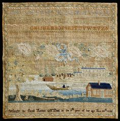 Sampler, by Sarah Hatton McPhail, 1828, Norfolk, VA. From the collections of the Museum of Early Southern Decorative Arts (MESDA)