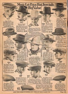 1920's mens hats from 1922 catalog vintagedancer com. Full explanations in the article