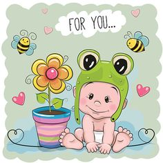 Cute Cartoon Baby in a froggy hat - Illustration vectorielle
