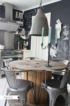 Pinned just because I like the look and feel.  Chalkboard wall, eclectic chairs, rustic spool table and industrial style light fixture.