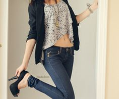 cardigan, gray lace top, jeans #fashion