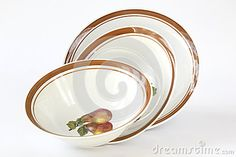 Photo about Tree porcelain plates with fruits design on white background. Image of design, fruits, porcelain - 57355491