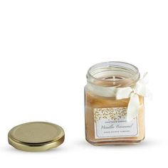SQUARE JAR CANDLE YELLOW VANILLA CARAMEL AROMA Jar Candles, Scented Candles, Candle Holder Decor, Caramel, Vanilla, Yellow, Food, Sticky Toffee, Candy