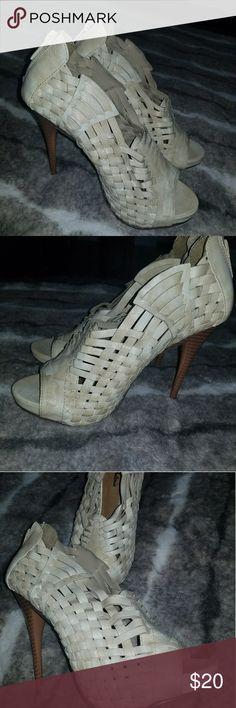 Peep toe  woven Stilettos Woven look peep toe Stiletto heels Shoes Heels