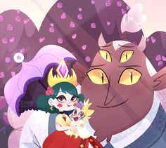 Eclipsa and globgor and her daughter Meteora Starco, Tom Star, Queen Eclipsa, Star Y Marco, Star Force, Fanart, Star Butterfly, Butterfly Family, Star Wars
