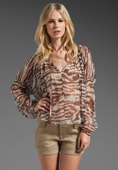 HAUTE HIPPIE Lace Front Peasant Blouse in Brown Combo at Revolve Clothing - Free Shipping!