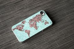 World Map Colored Sketch Custom iPhone Case Fits 4 And 4s Black Or White - unique iphone cases, gift, globe