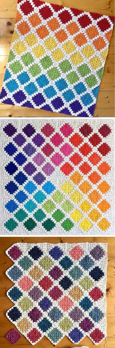 Crochet Diamond Blanket - Design Peak Crochet Diamond Blanket - Design Peak Learn the rudiments of h Knit Or Crochet, Crochet Crafts, Crochet Stitches, Crochet Hooks, Crotchet, Crochet Squares, Crochet Blanket Patterns, Knitting Patterns, Granny Pattern