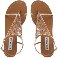 601b5783d2e8 amazon guarantee CHASITY SM Beaded Flat Sandal ROSE GOLD found on Polyvore  featuring shoes