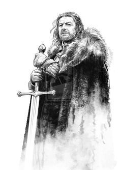 Ned by *jasonpal on deviantART - A Song of Ice and Fire Game Of Thrones Drawings, Game Of Thrones Artwork, Game Of Thrones Poster, Game Of Thrones Illustrations, Game Of Thrones Sansa, Game Of Thrones Books, Eddard Stark, Ned Stark, Realistic Drawings