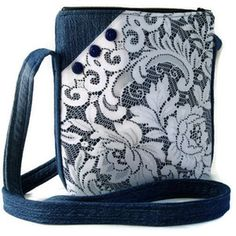 Denim and Lace Crossbody Bag, Upcycled Denim Repurposed Lace Hipster Purse, Recycled Denim Jean Purse, Fabric Jean Bag Purse, Shoulder Bag Mehr Denim Jean Purses, Denim Purse, Denim And Lace, Denim Handbags, Purses And Handbags, Blue Handbags, Hipster Purse, Sacs Design, Handmade Purses