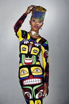 Model pinned from African Fashion Week: The beautiful and dramatic colour combinations worn by black women in Africa should be an example to their western sisters, as well as to members of other ethnic groups. They should take advantage of the beautiful authentic fabrics and jewellery that are on the market.