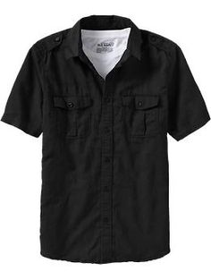 Black military-style linen shirt from Old Navy