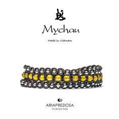 Mychau 2+1 - Bracciale Vietnam originale realizzato con pietre naturali Agata Gialla
