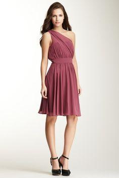 Suzi Chin One Shoulder A-Line Dress in Freesia plum mauve ... party, wedding, bridesmaids