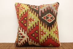 Accent kilim pillow cover 16 x 16 Ethnic Kilim by kilimwarehouse, $52.00