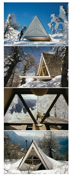Images of Heidi and Peter Wenger's 1955 Trigon Chalet, Brig, Switzerland, after renovations in From A-Frame by Chad Randl. Triangle Windows / The Green Life Nature Architecture, Architecture Design, Windows Architecture, A Frame Cabin, A Frame House, Micro House, Tiny House, Forest House, Cabin Homes