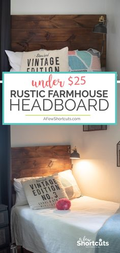 Affordable and stylish. It doesn't get much easier! Learn how to make a Rustic Farmhouse Headboard f Rustic Bench, Rustic Farmhouse, Rustic Decor, Rustic Theme, Rustic Kitchen, Rustic Colors, Rustic Cottage, Rustic Shelves, Rustic Outdoor