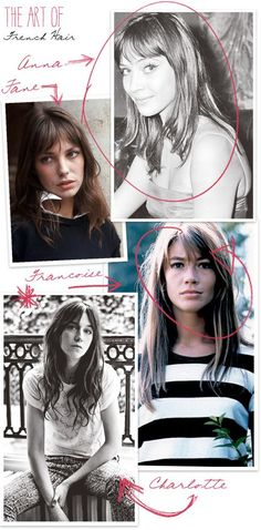 THE DREAM (FRENCH) HAIRDO — Cheeky Design, I was thinking lately about the hairdos I envy, and want to copy the most, and how they usually are on the heads of French women. I started gathering . Charlotte Gainsbourg, Hairstyles With Bangs, Trendy Hairstyles, Style Hairstyle, Everyday Hairstyles, Natural Hairstyles, Françoise Hardy, French Beauty, French Makeup