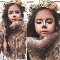 For a cute simple and oh so pretty Halloween look repost from Close up of my little fawn (see more a few posts back ) fur shawl/ flower crown- more listings coming soon! Deer Halloween Costumes, Up Costumes, Halloween Make Up, Deer Costume For Kids, Pretty Halloween, Animal Makeup, Deer Makeup, Halloween Makeup Looks, Fantasy Makeup