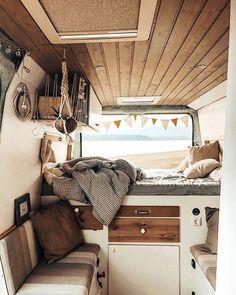 We adore this c - Vanlife Diaries ( ) Bus Living, Tiny Living, Van Life, Kombi Home, Caravan Renovation, Camper Van Conversion Diy, Van Interior, Camper Life, Vw Camper