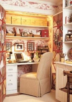 Create a home office in a spare closet.  I Love toile!