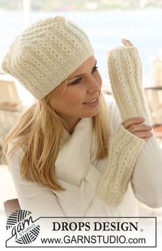 Ravelry: Knitted hat pattern by DROPS design - Stirnband stricken Bonnet Crochet, Knit Crochet, Crochet Hats, Knit Cowl, Crochet Granny, Hand Crochet, Knitting Patterns Free, Knit Patterns, Free Pattern