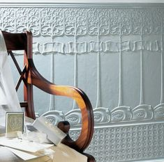 This Lincrusta wallcovering is deeply textured and tough. It comes in panels for easy intall.