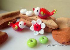 jasmin french ' birdies ' lampwork beads glass art set