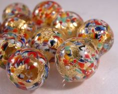 Cool Murano Venetian Round Glass bead  14mm Gold foil by cserpentStash, $5.50 - These are beautiful....   Cool Beads Check more at http://ukreuromedia.com/en/pin/12195/