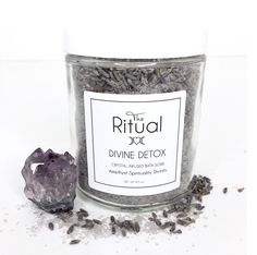 DIVINE DETOX BATH SOAK-Detox your body and step into divinity of self. A blend of of clay, lavender, essential oils, sea salt, epsom salt, and activated charcoal are all essential to the body detoxification. Crystal Infused with an Amethyst which is known for psychic protection, spirituality and connecting to the third eye & crown chakras. A divine Ritual bath soak.