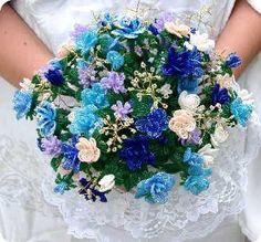 "~ ""Blue beaded bridal bouquet""... Pretty blues..."