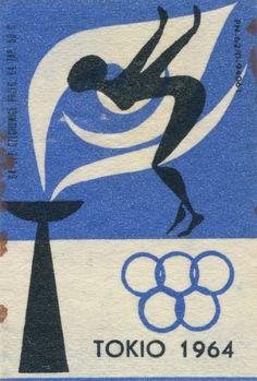 polish matchbox label, Olympic Games Tokyo 1964