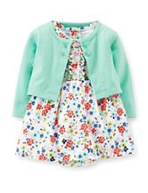 Carter's® 2-pc. Mint Green Cardigan & Multicolor Floral Print Dress Set – Baby 0-24 Mos.