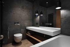 Un appartement familial au style loft minimaliste - PLANETE DECO a homes world Small Bathroom Paint Colors, Bathroom Mirror Design, Simple Bathroom Designs, Contemporary Bathroom Designs, Modern Bathroom Design, Bathroom Interior Design, Style Loft, Apartment Interior, Beautiful Bathrooms