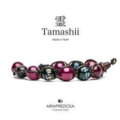 Tamashii - Bracciale originale tibetano realizzato con pietre naturali Agata Rossa e legno orientale autentico con SIMBOLI MANTRA incisi a mano