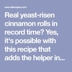 Real yeast-risen cinnamon rolls in record time? Yes, it's possible with this recipe that adds the helper ingredient of packaged yellow cake mix to make the rolls tasty and light. They need just 15 minutes to rise. Cinnabon Cinnamon Rolls, Vegetarian Cake, Yellow Cake Mixes, Rolls Recipe, Sweet Stuff, Tasty, Favorite Recipes, Cooking, Breakfast
