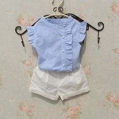 2017 Summer Baby Teenage Child Girls Blouse Striped Cotton Sleeveless Tank Schoo… 2017 Summer Baby Teenage Child Girls Blouse Striped Cotton Sleeveless Tank School Girl Tops And Blouses Shirts For Kids Kids Outfits Girls, Little Girl Dresses, Shirts For Girls, Baby Outfits, Cute Outfits, Kids Shirts, Baby Girl Fashion, Fashion Kids, Fashion Dolls