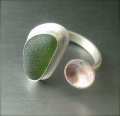 Ring | LivelyHood Designs.  Sea glass, sterling silver and mokume gane.