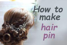 DIY Bridal Hair vine pin with Rhinestones  Pearls Accessory Headpiece Ha...
